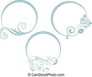 décoratif, ovale, frame., branche