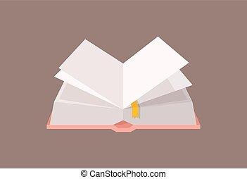 décoratif, plat, universitaire, vecteur, illustration., arrière-plan., bookmark., isolé, manuel, fiction, livre cartonné, conception, études, cartonné, élément, blanc, education, ouvert, dessin animé, literature.