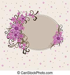 décoratif, rose, cadre, floral