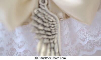 décoratif, rose, cousu, ribbon., lumière, métal, élément, soie