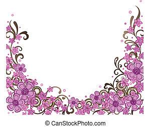 décoratif, rose, frontière, floral