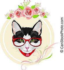 décoratif, rose, rigolote, cadre, chat, roses, portrait, rouges, lunettes