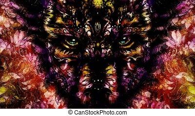 décoratif, sacré, contct., loup, animal, oeil, peinture