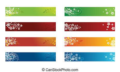 décoratif, saisonnier, frontière, floral