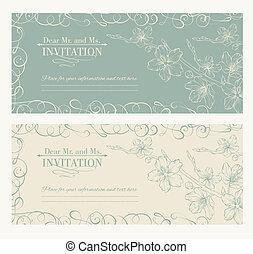 décoratif, sakura, carte