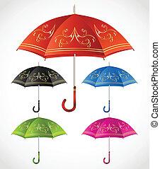 décoratif, set., vecteur, parapluies