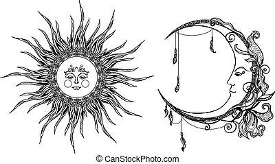 décoratif, soleil, lune