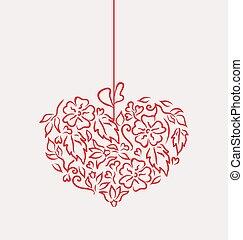 décoratif, style, coeur, isolé, main, jour, fond, dessiné, blanc, valentin