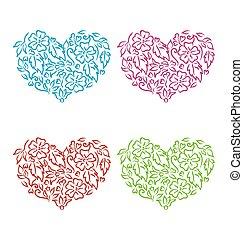 décoratif, style, ensemble, isolé, main, jour, fond, cœurs, floral, dessiné, blanc, valentin