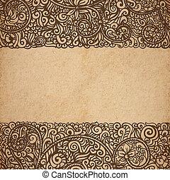 décoratif, style, vieux, vendange, cadre, texture, main, papier, victorien, vecteur, scrapbooking, illustration, fond, floral, dessiné, page