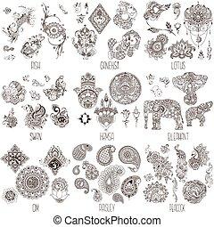 décoratif, symboles, oriental