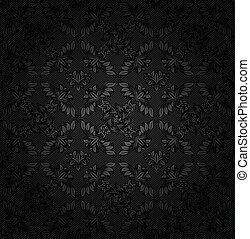 décoratif, tissu, gris, texture, fond foncé, fleurs, velours côtelé