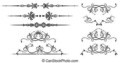 décoratif, tourbillon, éléments