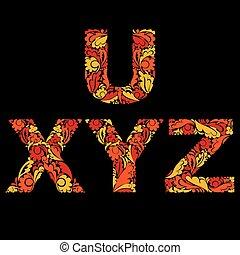 décoratif, typescript, naturel, alphabet, majuscule, pattern., calligraphic, fleuri, letters.