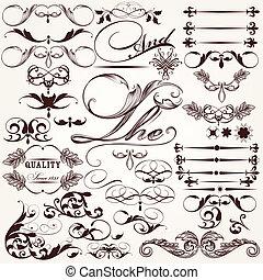 décoratif, vecteur, collection, ele