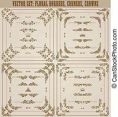 décoratif, vecteur, ensemble, or, cadre, frontières