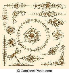décoratif, vendange, éléments