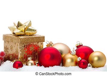 décoratif, verre, neige, ornements, noël