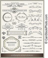 décoration, éléments, conception, page, calligraphic