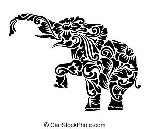 décoration, éléphant, ornement, floral