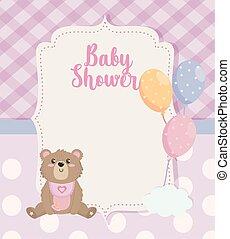 décoration, étiquette, ballons, ours, teddy