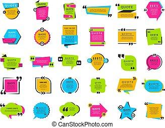 décoration, étiquettes, boîtes, citation, marques, vecteur, collection, texte, texting, cadre, bubbles., ballons