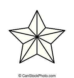décoration, étoile, style, ligne, noël, icône