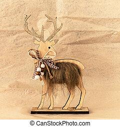 décoration, bois, renne, noël