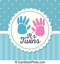 décoration, célébration, jumeaux, handprint, étiquette