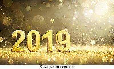 décoration, carte, -, année, nouveau, 2019, salutation