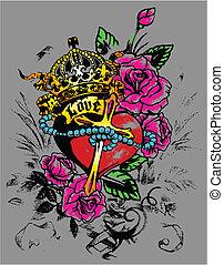 décoration, coeur, flores, royal
