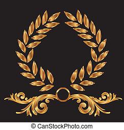 décoration, couronne laurier, or