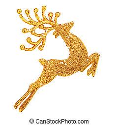 décoration, doré, beau, renne