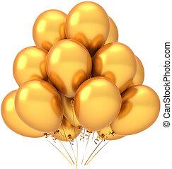 décoration, doré, hélium, ballons