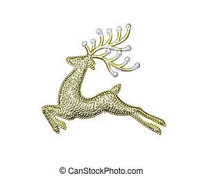 décoration, doré, renne, isolé