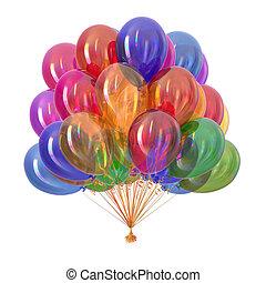 décoration, fête, multicolore, ballons
