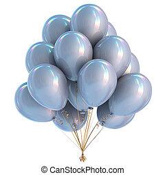 décoration, fêtede l'anniversaire, blanc, ballons, argent