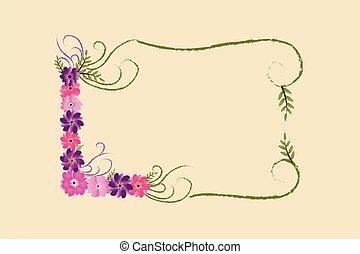 décoration, floral, cadre, lettrage, l