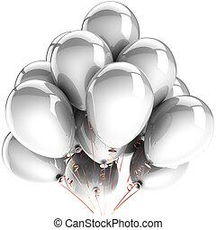 décoration, hélium, blanc, ballons