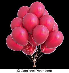 décoration, isolé, anniversaire, noir, fête, ballons, rouges