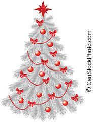 décoration, noël blanc, rouges, arbre