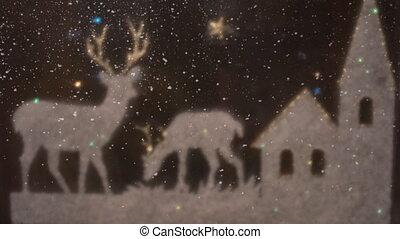 décoration, nouveau, neige, fond, année