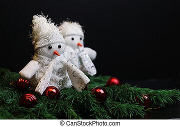 décoration, nouvel an, jouets bourrés