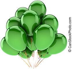 décoration, vert, hélium, baloons