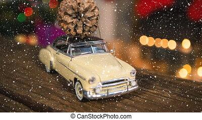 décoration, voiture, pin, noël, neige, tomber, cône