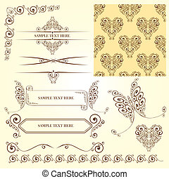 décorations, éléments, calligraphic, page, ensemble, vendange