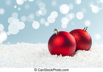 décorations, boules neige, lights., arrière-plan bleu, bokeh, rouges, noël