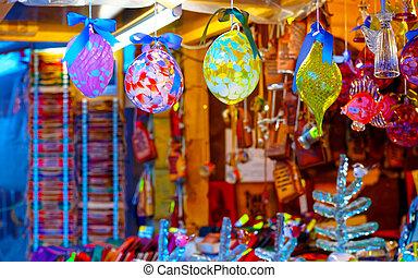 décorations, noël, affiché, réflexe, marché, arbre, vente