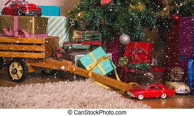 décorations noël, tomber, neige