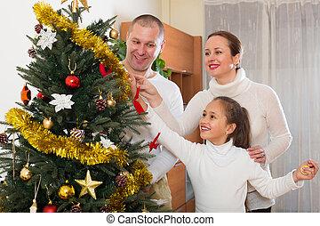 décorer, arbre généalogique, noël